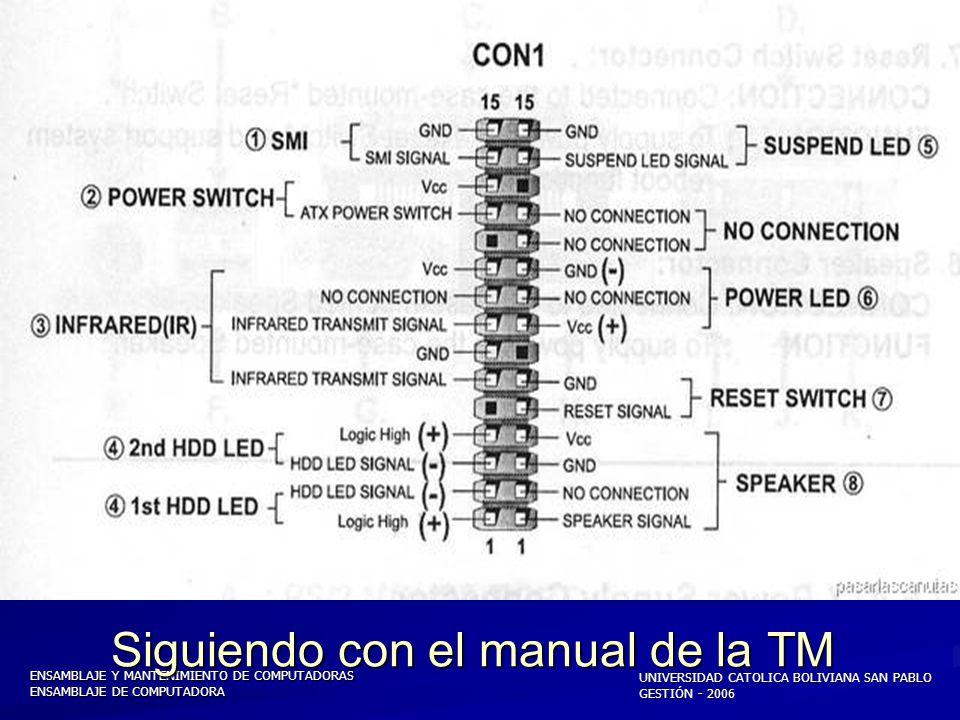 ENSAMBLAJE Y MANTENIMIENTO DE COMPUTADORAS ENSAMBLAJE DE COMPUTADORA UNIVERSIDAD CATOLICA BOLIVIANA SAN PABLO GESTIÓN - 2006 Conector ATX enchufado a la TM