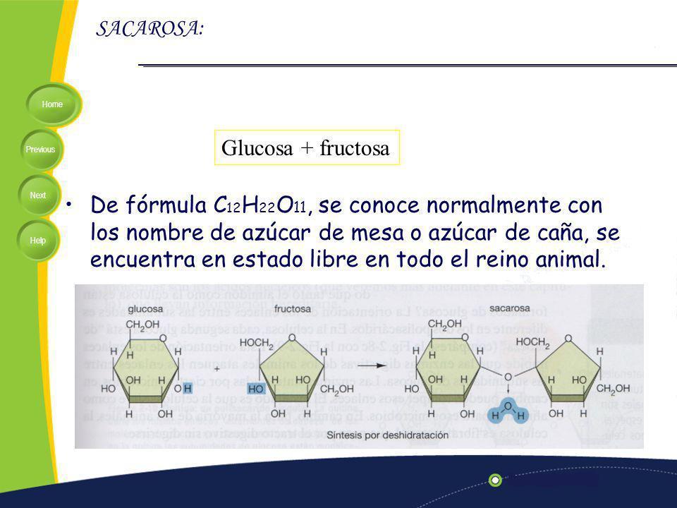 Home Previous Next Help SACAROSA: De fórmula C 12 H 22 O 11, se conoce normalmente con los nombre de azúcar de mesa o azúcar de caña, se encuentra en