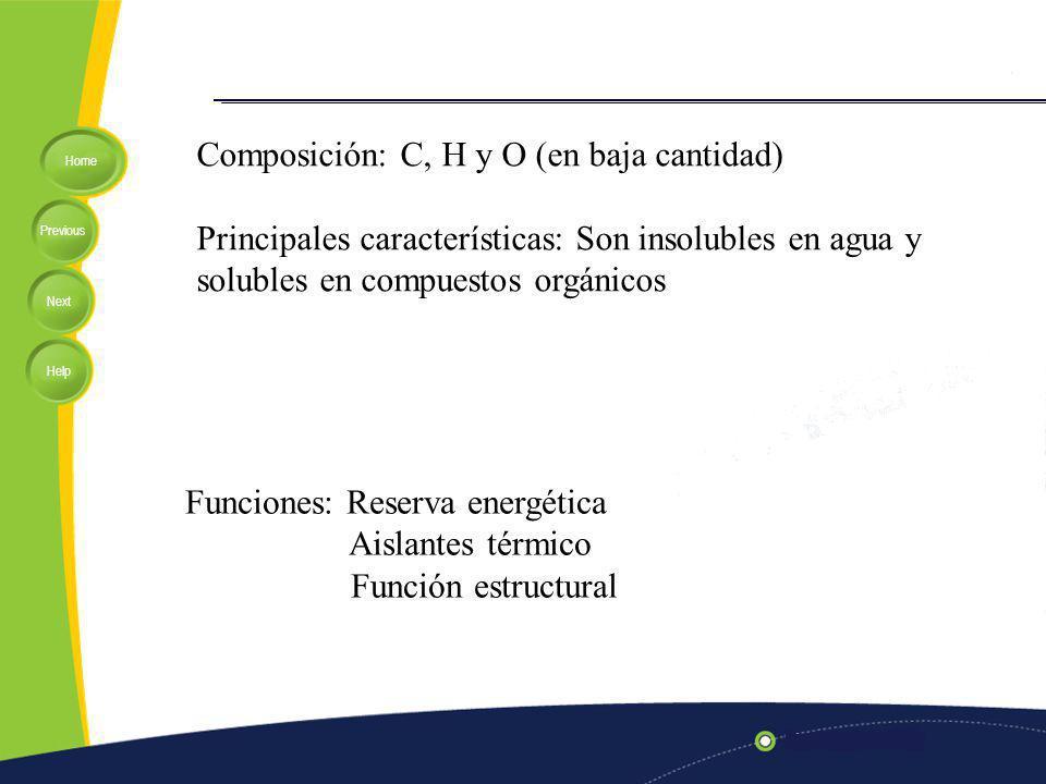 Home Previous Next Help Composición: C, H y O (en baja cantidad) Principales características: Son insolubles en agua y solubles en compuestos orgánicos Funciones: Reserva energética Aislantes térmico Función estructural
