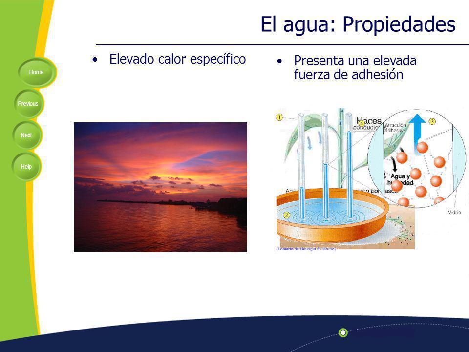 Home Previous Next Help El agua: Propiedades Elevado calor específico Presenta una elevada fuerza de adhesión