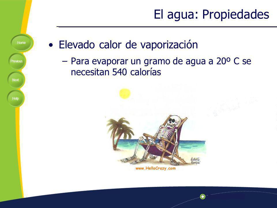 Home Previous Next Help Elevado calor de vaporización –Para evaporar un gramo de agua a 20º C se necesitan 540 calorías El agua: Propiedades