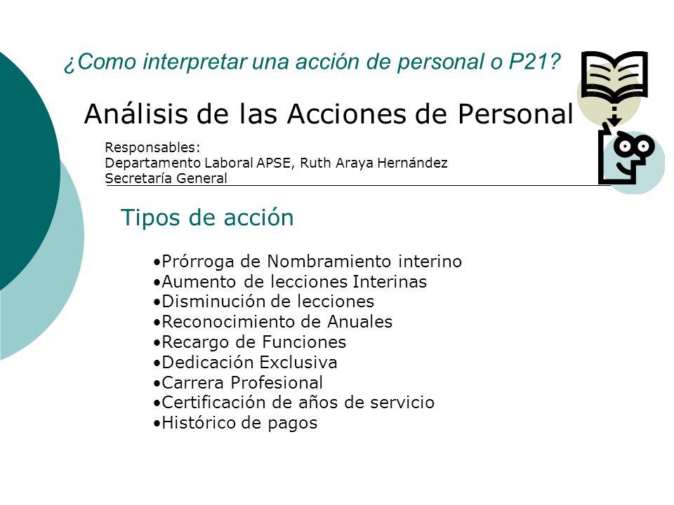¿Como interpretar una acción de personal o P21? Análisis de las Acciones de Personal Tipos de acción Prórroga de Nombramiento interino Aumento de lecc
