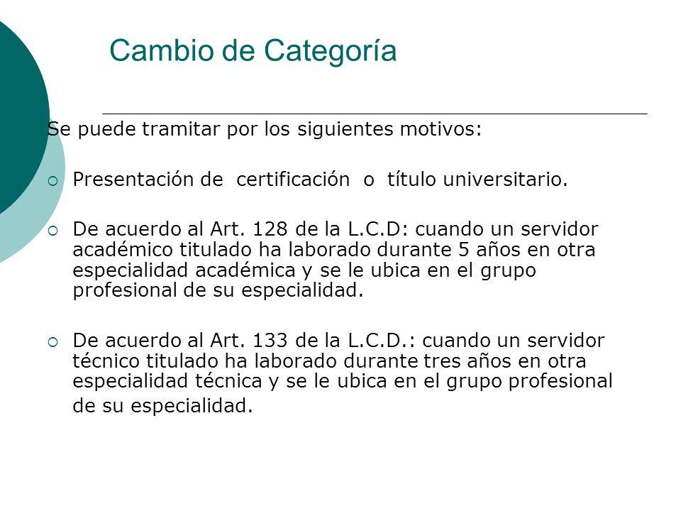 Cambio de Categoría Se puede tramitar por los siguientes motivos: Presentación de certificación o título universitario. De acuerdo al Art. 128 de la L