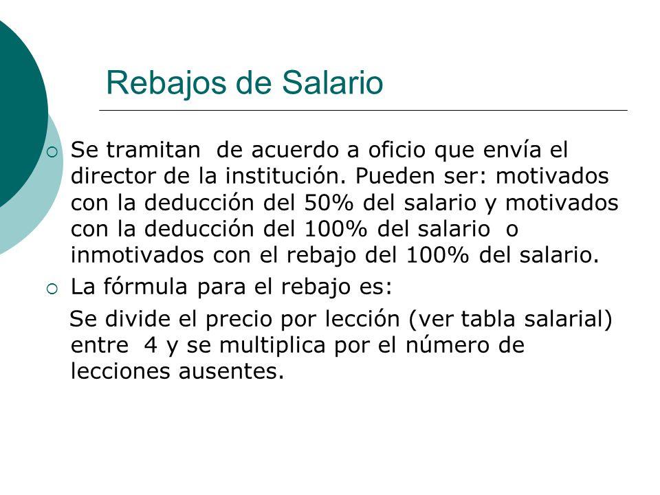 Rebajos de Salario Se tramitan de acuerdo a oficio que envía el director de la institución. Pueden ser: motivados con la deducción del 50% del salario