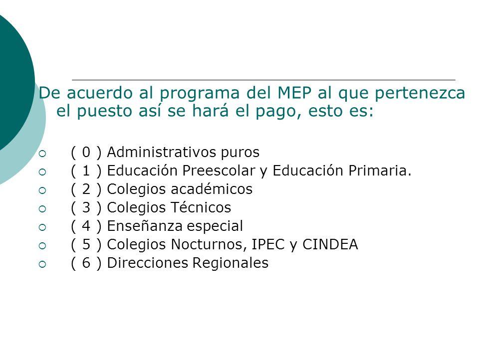 De acuerdo al programa del MEP al que pertenezca el puesto así se hará el pago, esto es: ( 0 ) Administrativos puros ( 1 ) Educación Preescolar y Educación Primaria.