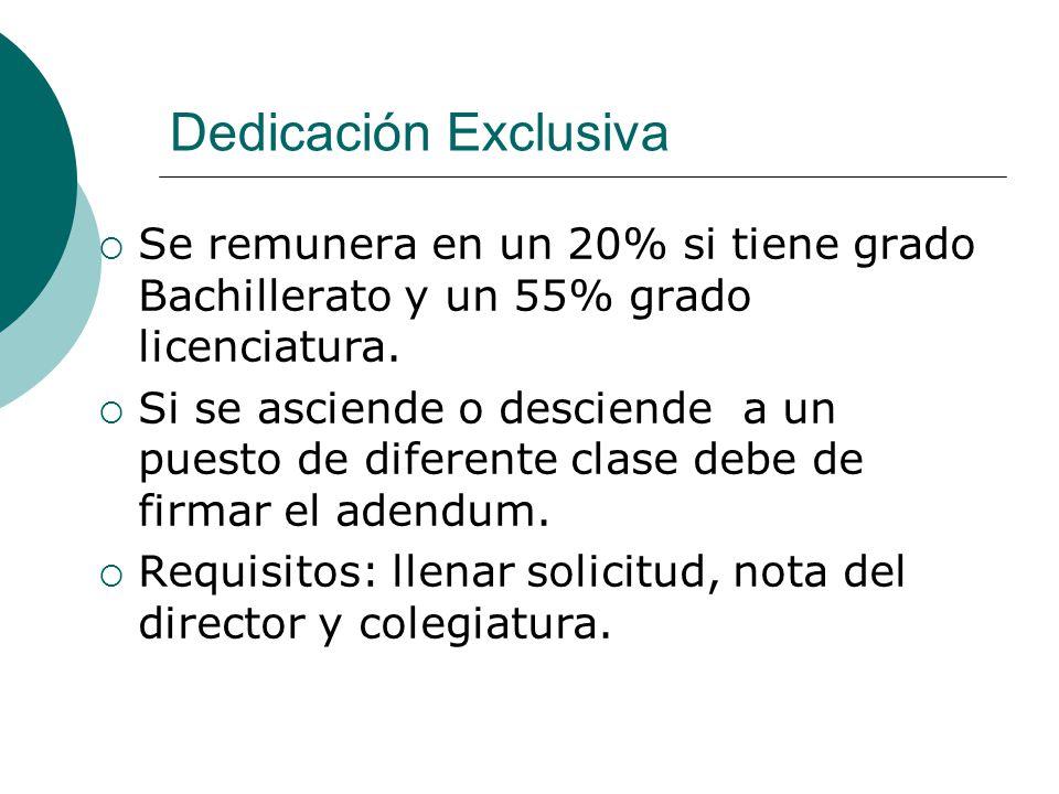 Dedicación Exclusiva Se remunera en un 20% si tiene grado Bachillerato y un 55% grado licenciatura. Si se asciende o desciende a un puesto de diferent