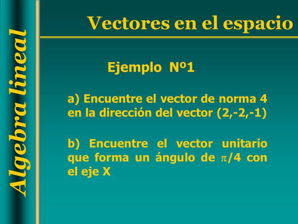 Algebra lineal Vectores en el espacio a) Encuentre el vector de norma 4 en la dirección del vector (2,-2,-1) Ejemplo Nº1 b) Encuentre el vector unitar