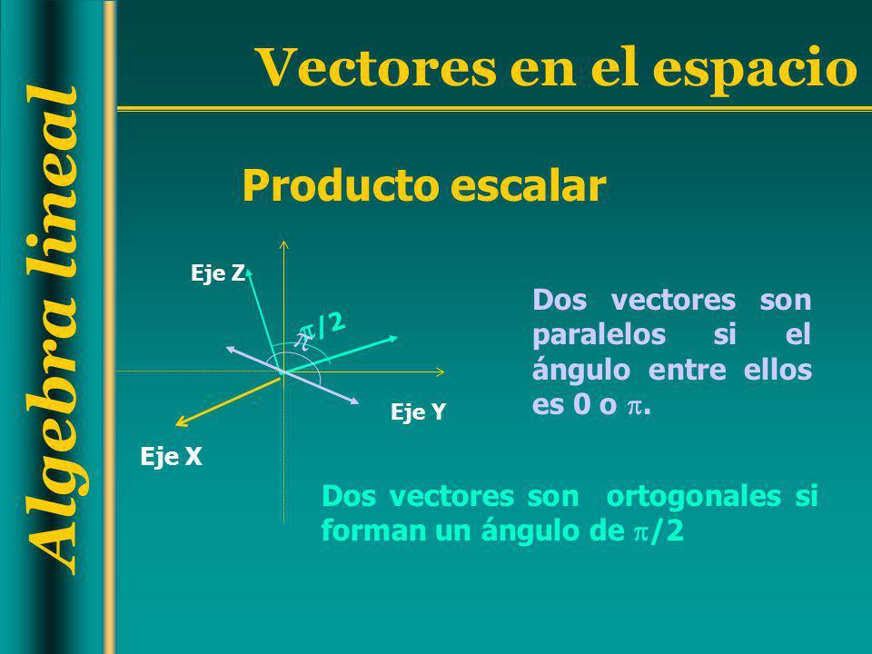 Algebra lineal Vectores en el espacio Dos vectores son paralelos si el ángulo entre ellos es 0 o. Dos vectores son ortogonales si forman un ángulo de