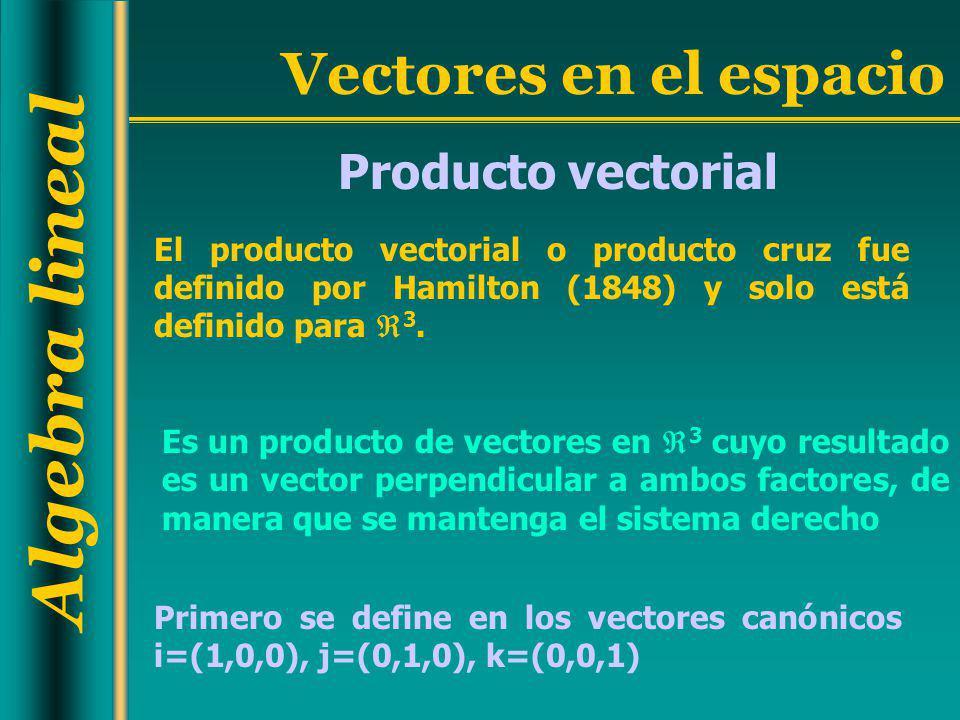 Algebra lineal Vectores en el espacio El producto vectorial o producto cruz fue definido por Hamilton (1848) y solo está definido para 3. Es un produc