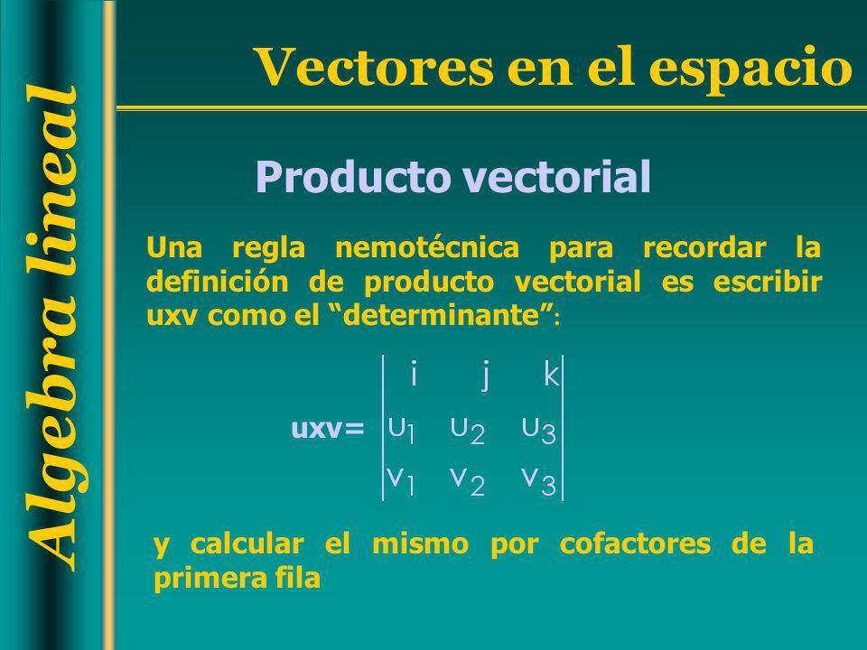 Algebra lineal Vectores en el espacio Producto vectorial Una regla nemotécnica para recordar la definición de producto vectorial es escribir uxv como