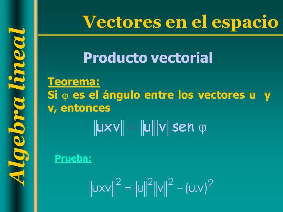 Algebra lineal Vectores en el espacio Producto vectorial Teorema: Si es el ángulo entre los vectores u y v, entonces Prueba: