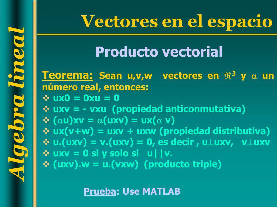 Algebra lineal Vectores en el espacio Producto vectorial Teorema: Sean u,v,w vectores en 3 y un número real, entonces: ux0 = 0xu = 0 uxv = - vxu (prop