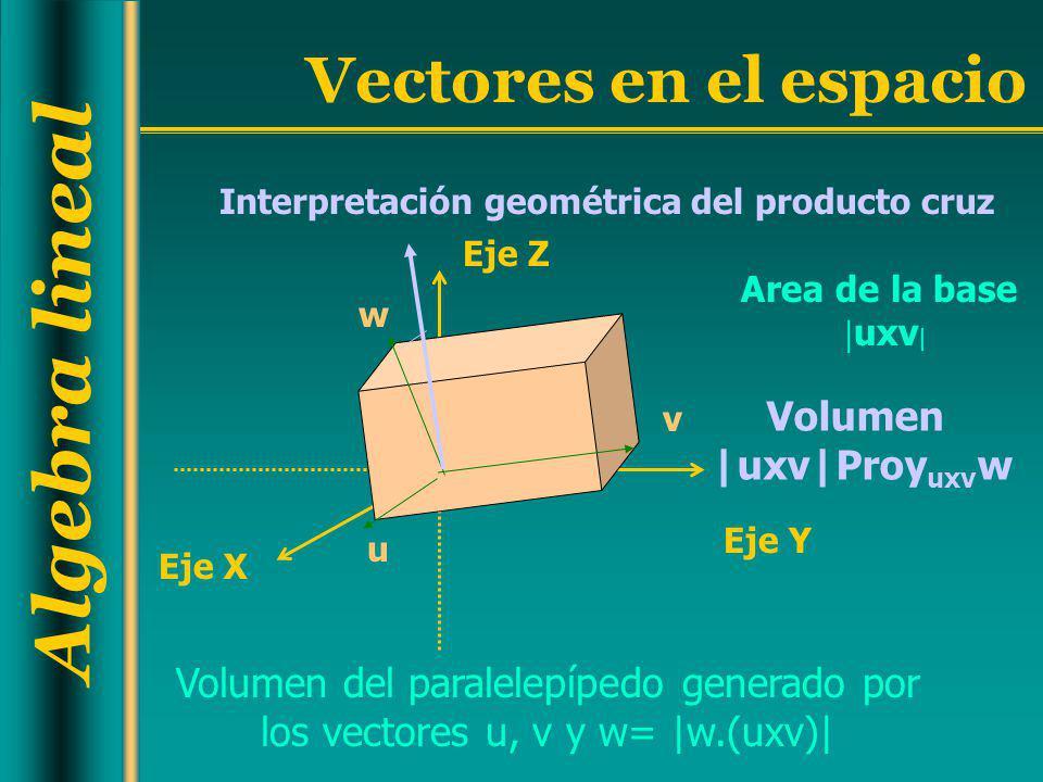 Algebra lineal Vectores en el espacio Interpretación geométrica del producto cruz Volumen del paralelepípedo generado por los vectores u, v y w= |w.(u
