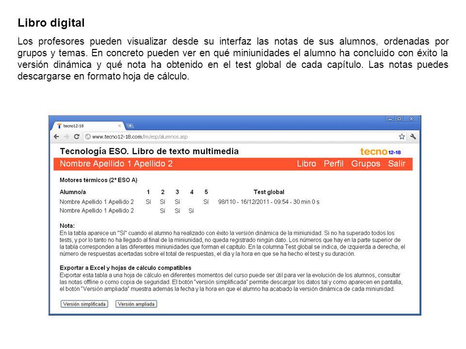 Libro digital Los profesores pueden visualizar desde su interfaz las notas de sus alumnos, ordenadas por grupos y temas. En concreto pueden ver en qué