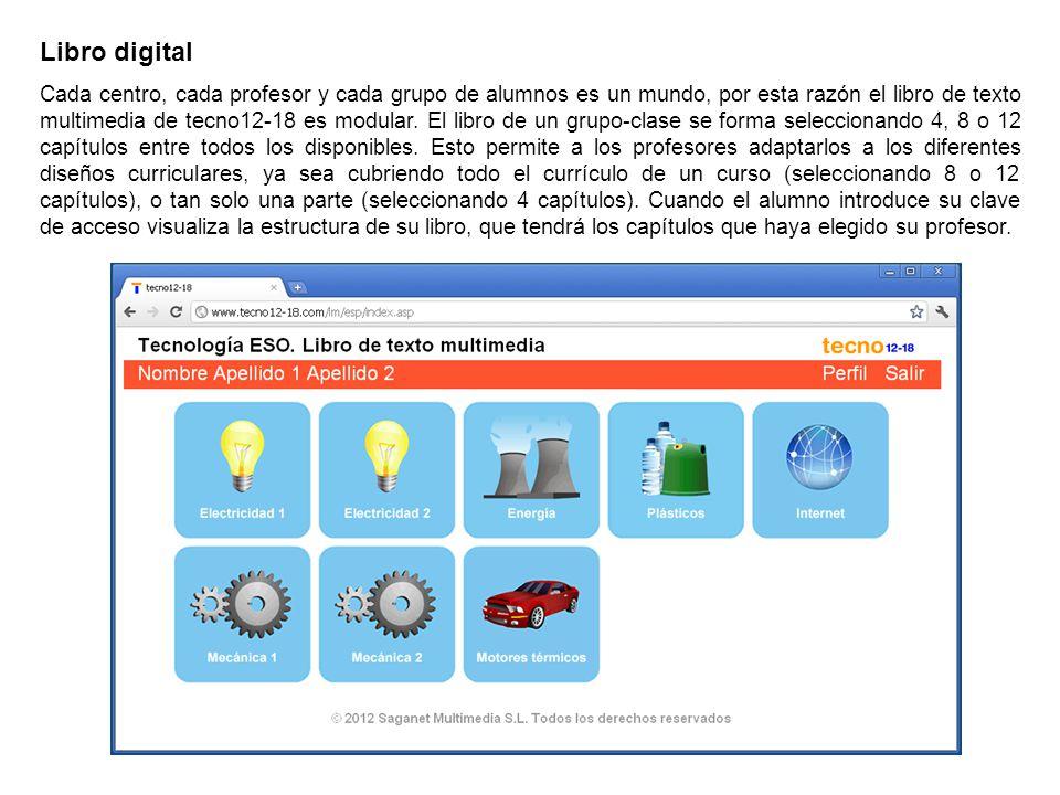 Libro digital Cada centro, cada profesor y cada grupo de alumnos es un mundo, por esta razón el libro de texto multimedia de tecno12-18 es modular. El