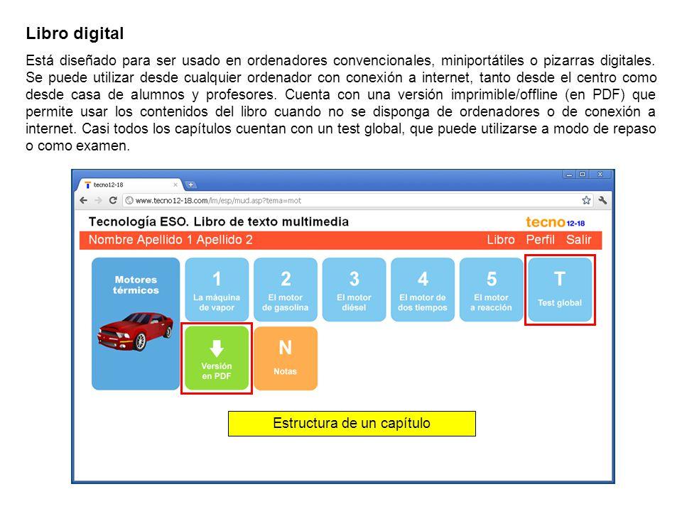 Libro digital La mayoría de miniunidades disponen de una versión libre (permite pasar las pantallas hacia adelante o hacia atrás sin restricciones) y de una versión dinámica (para pasar pantallas y llegar al final de la miniunidad es necesario superar diversos tests).