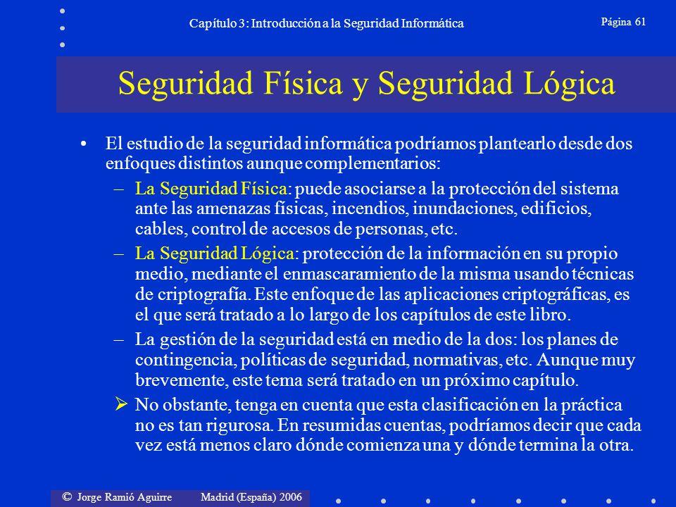 © Jorge Ramió Aguirre Madrid (España) 2006 Página 61 Capítulo 3: Introducción a la Seguridad Informática El estudio de la seguridad informática podría