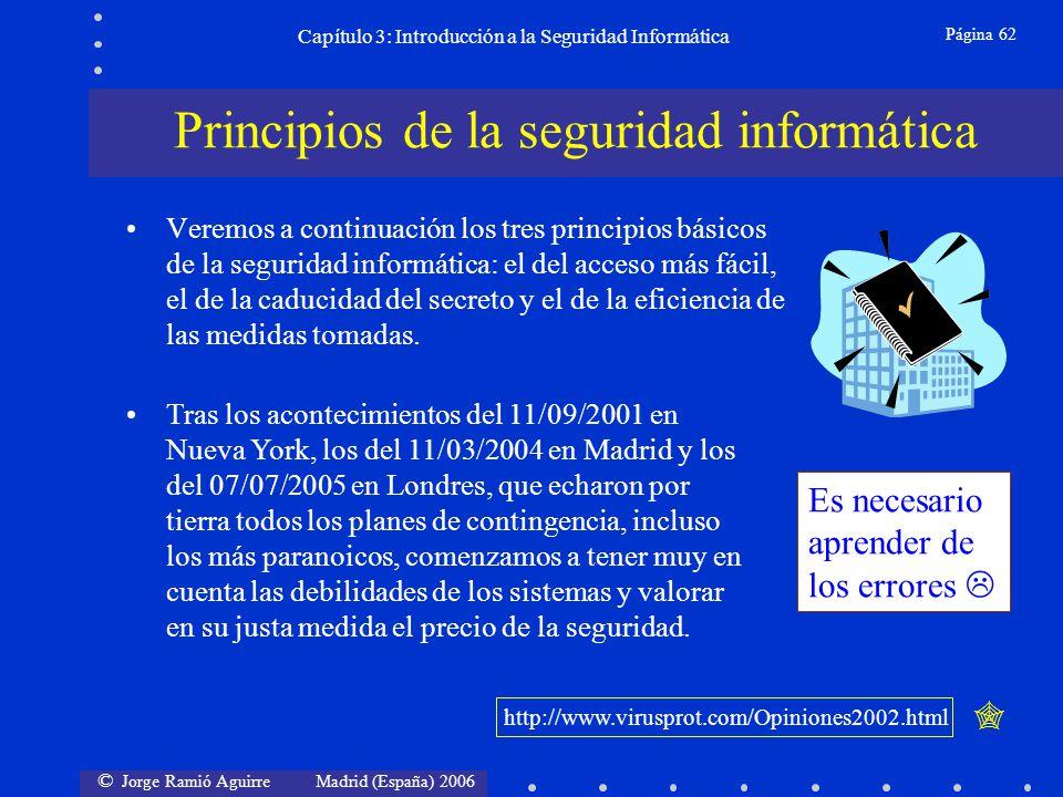 © Jorge Ramió Aguirre Madrid (España) 2006 Página 62 Capítulo 3: Introducción a la Seguridad Informática Veremos a continuación los tres principios bá