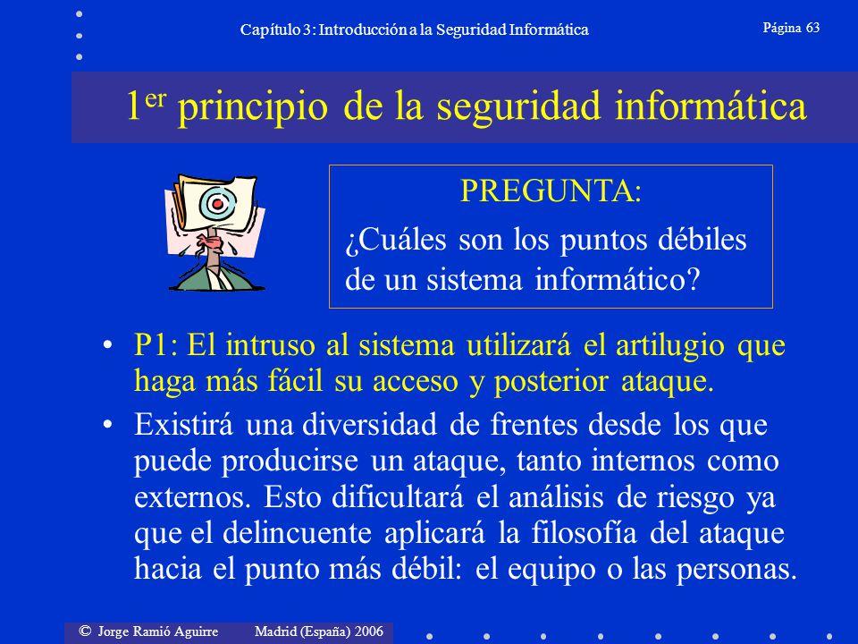 © Jorge Ramió Aguirre Madrid (España) 2006 Página 63 Capítulo 3: Introducción a la Seguridad Informática P1: El intruso al sistema utilizará el artilu