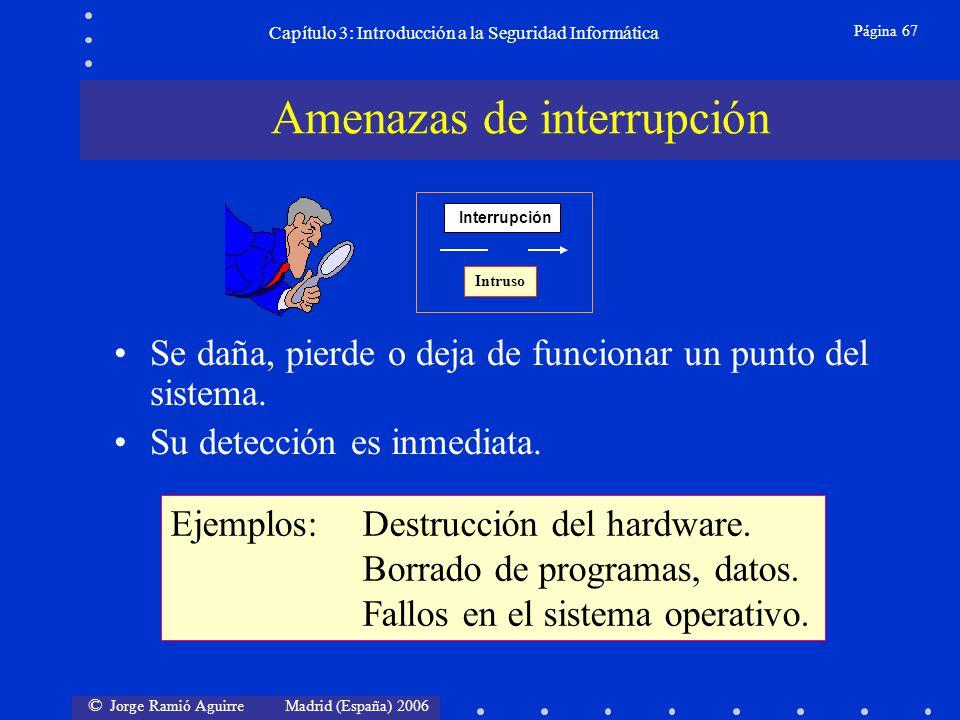 © Jorge Ramió Aguirre Madrid (España) 2006 Página 67 Capítulo 3: Introducción a la Seguridad Informática Se daña, pierde o deja de funcionar un punto