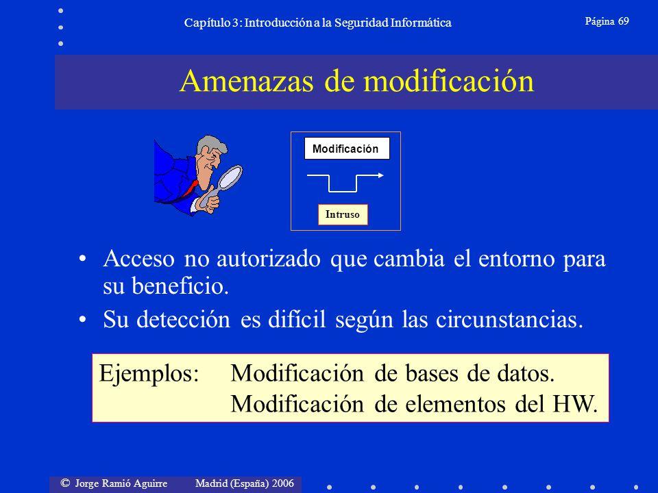 © Jorge Ramió Aguirre Madrid (España) 2006 Página 69 Capítulo 3: Introducción a la Seguridad Informática Acceso no autorizado que cambia el entorno pa