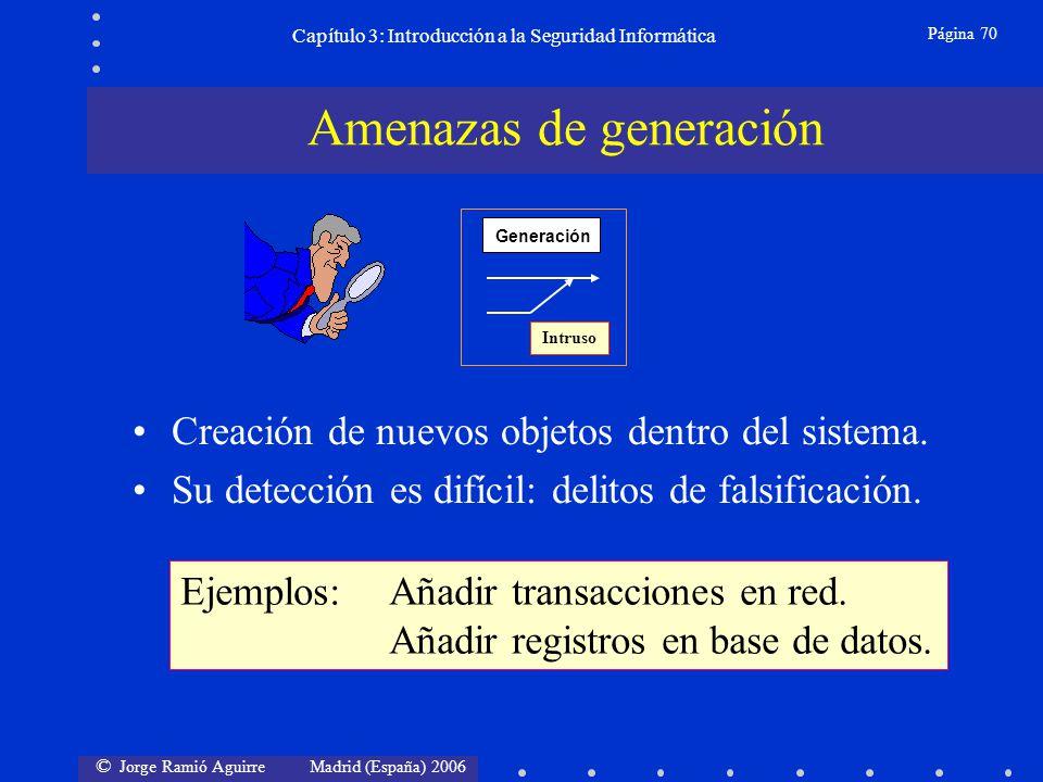 © Jorge Ramió Aguirre Madrid (España) 2006 Página 70 Capítulo 3: Introducción a la Seguridad Informática Creación de nuevos objetos dentro del sistema