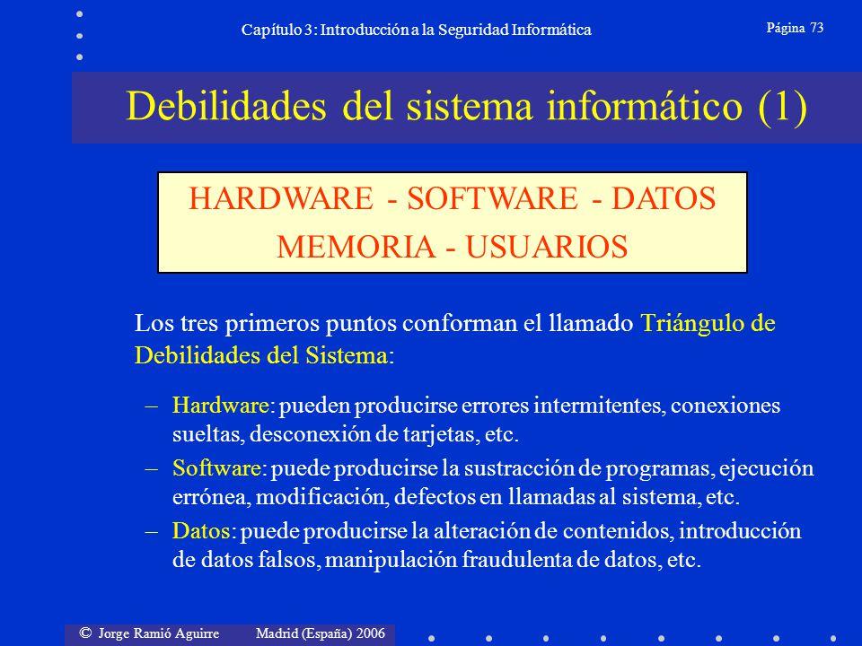 © Jorge Ramió Aguirre Madrid (España) 2006 Página 73 Capítulo 3: Introducción a la Seguridad Informática Los tres primeros puntos conforman el llamado