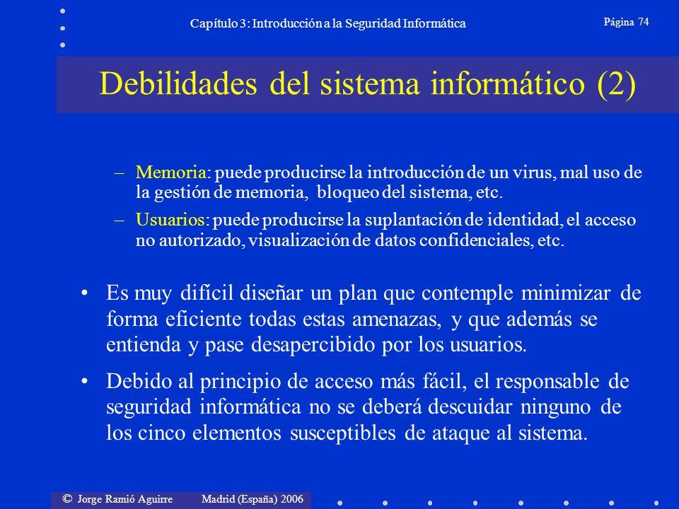 © Jorge Ramió Aguirre Madrid (España) 2006 Página 74 Capítulo 3: Introducción a la Seguridad Informática –Memoria: puede producirse la introducción de