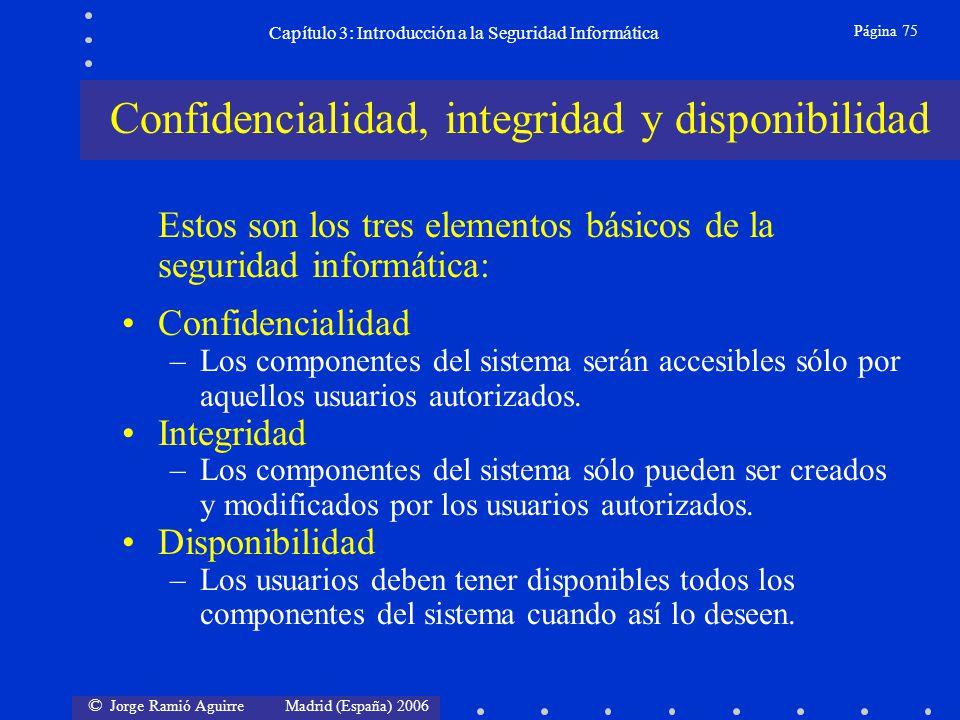 © Jorge Ramió Aguirre Madrid (España) 2006 Página 75 Capítulo 3: Introducción a la Seguridad Informática Estos son los tres elementos básicos de la se