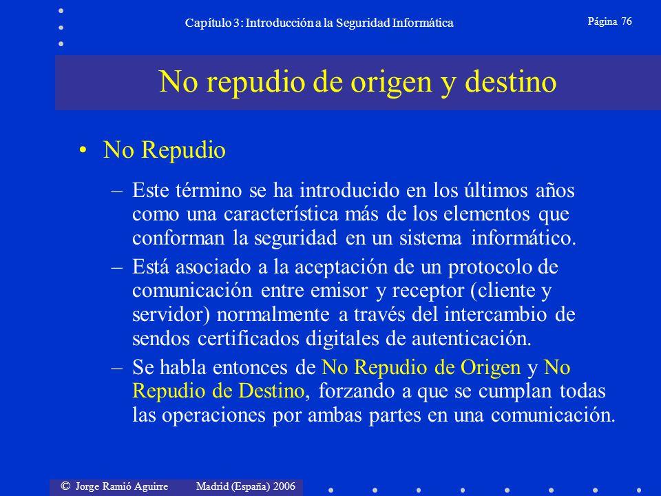 © Jorge Ramió Aguirre Madrid (España) 2006 Página 76 Capítulo 3: Introducción a la Seguridad Informática No Repudio –Este término se ha introducido en