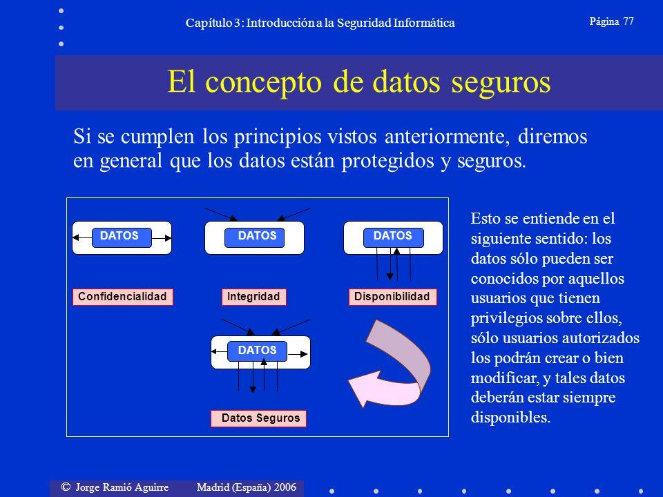 © Jorge Ramió Aguirre Madrid (España) 2006 Página 77 Capítulo 3: Introducción a la Seguridad Informática ConfidencialidadIntegridadDisponibilidad Dato