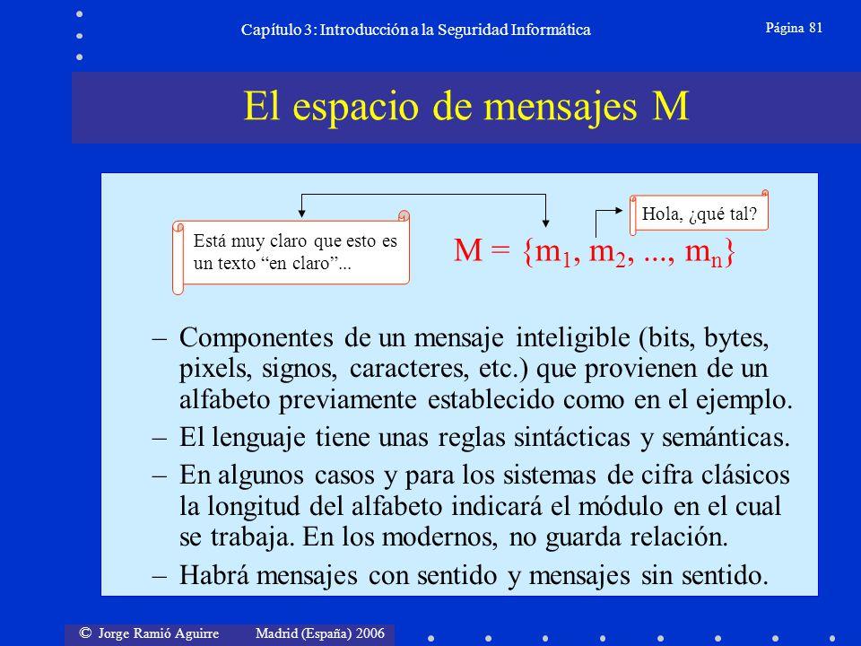 © Jorge Ramió Aguirre Madrid (España) 2006 Página 81 Capítulo 3: Introducción a la Seguridad Informática –Componentes de un mensaje inteligible (bits,