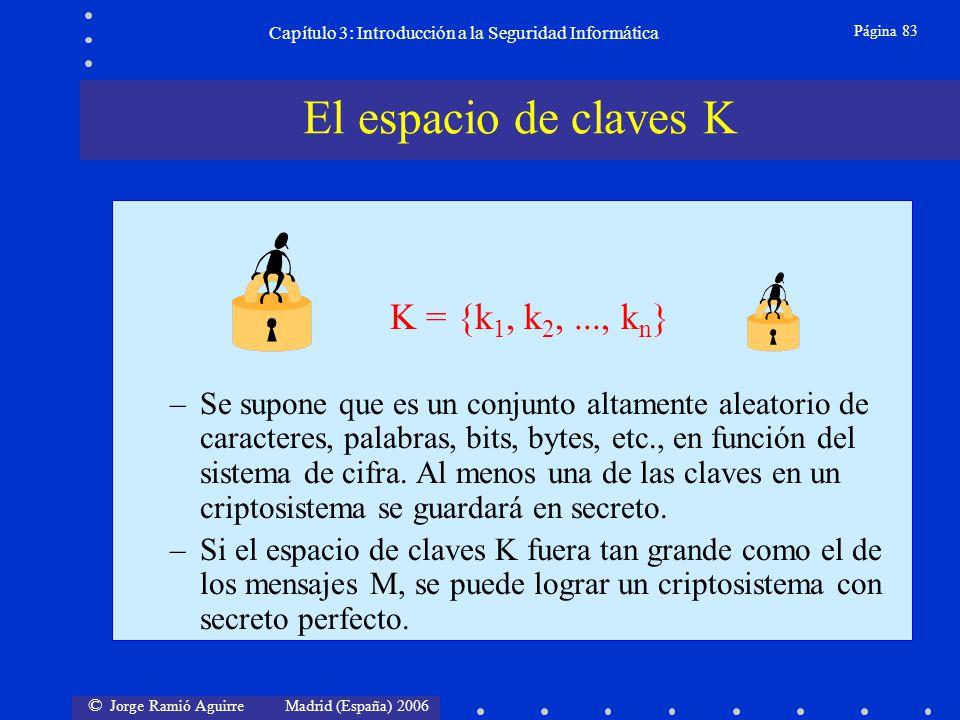 © Jorge Ramió Aguirre Madrid (España) 2006 Página 83 Capítulo 3: Introducción a la Seguridad Informática –Se supone que es un conjunto altamente aleat