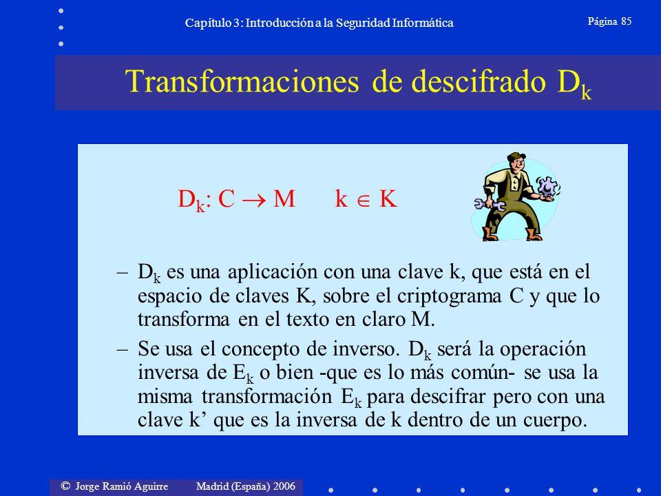 © Jorge Ramió Aguirre Madrid (España) 2006 Página 85 Capítulo 3: Introducción a la Seguridad Informática –D k es una aplicación con una clave k, que e