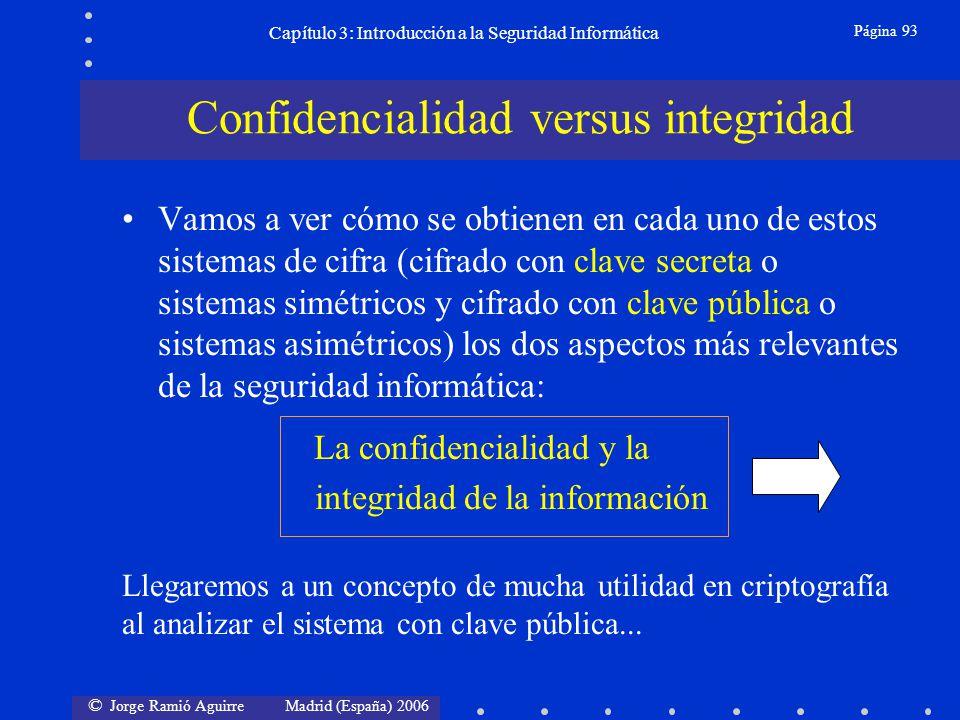 © Jorge Ramió Aguirre Madrid (España) 2006 Página 93 Capítulo 3: Introducción a la Seguridad Informática Vamos a ver cómo se obtienen en cada uno de e