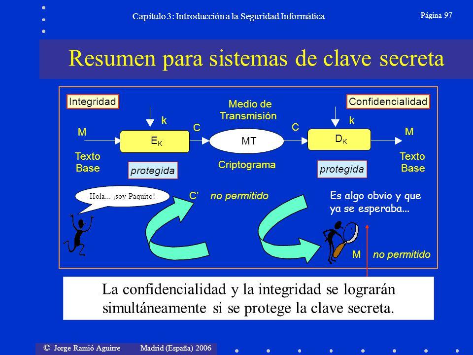 © Jorge Ramió Aguirre Madrid (España) 2006 Página 97 Capítulo 3: Introducción a la Seguridad Informática protegida Medio de k Transmisión k M C Texto