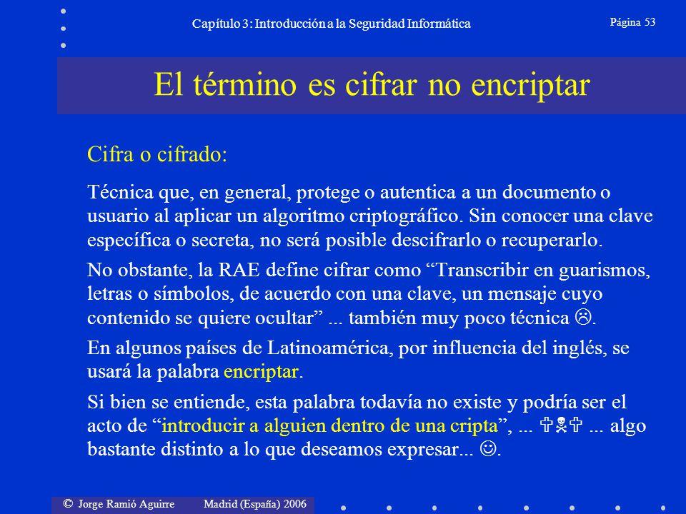 © Jorge Ramió Aguirre Madrid (España) 2006 Página 53 Capítulo 3: Introducción a la Seguridad Informática Cifra o cifrado: Técnica que, en general, pro