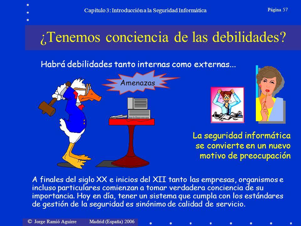 © Jorge Ramió Aguirre Madrid (España) 2006 Página 57 Capítulo 3: Introducción a la Seguridad Informática Amenazas ¿Tenemos conciencia de las debilidad