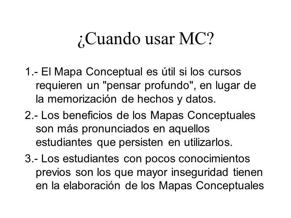 ¿Cuando usar MC? 1.- El Mapa Conceptual es útil si los cursos requieren un