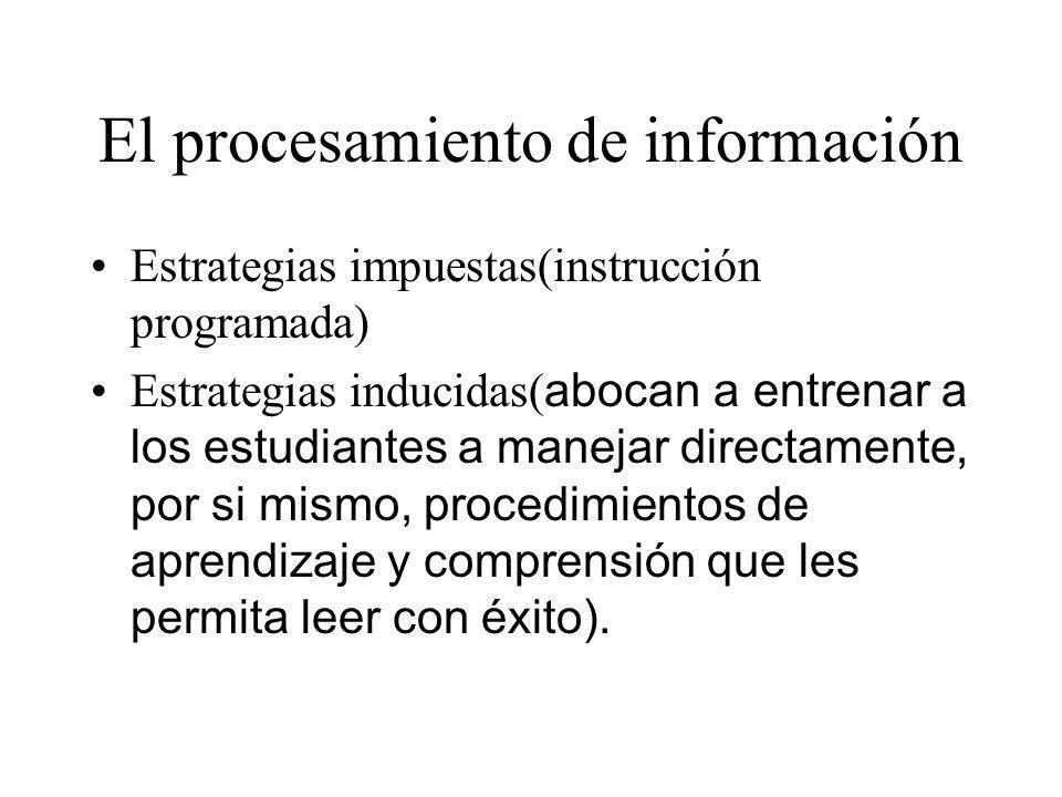 El procesamiento de información Estrategias impuestas(instrucción programada) Estrategias inducidas( abocan a entrenar a los estudiantes a manejar dir