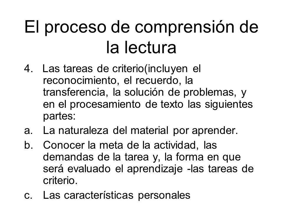 El proceso de comprensión de la lectura 4. Las tareas de criterio(incluyen el reconocimiento, el recuerdo, la transferencia, la solución de problemas,