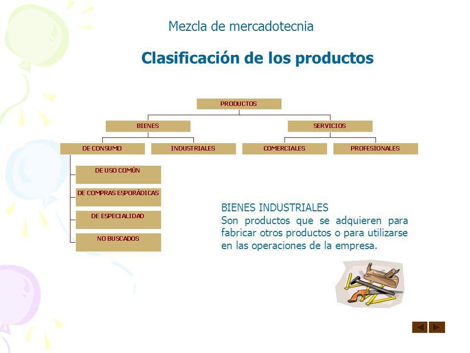 Clasificación de los productos Mezcla de mercadotecnia BIENES DE CONSUMO Son los que se compran con el fin fundamental de satisfacer las necesidades p