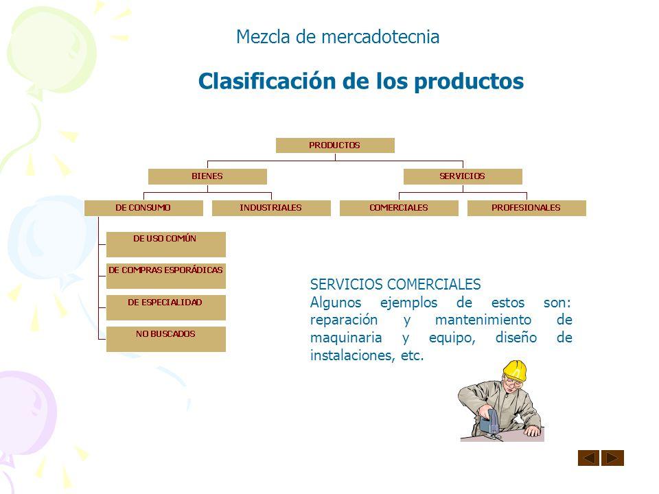 Clasificación de los productos Mezcla de mercadotecnia BIENES INDUSTRIALES Son productos que se adquieren para fabricar otros productos o para utiliza