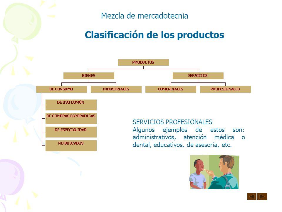 Clasificación de los productos Mezcla de mercadotecnia SERVICIOS COMERCIALES Algunos ejemplos de estos son: reparación y mantenimiento de maquinaria y