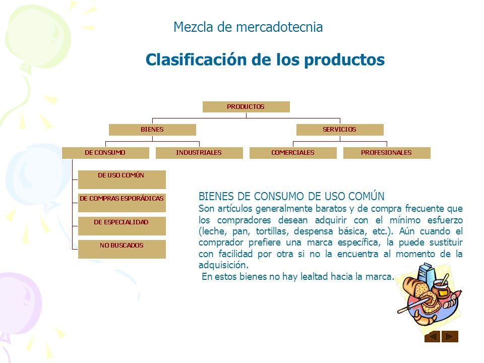 Clasificación de los productos Mezcla de mercadotecnia SERVICIOS PROFESIONALES Algunos ejemplos de estos son: administrativos, atención médica o denta