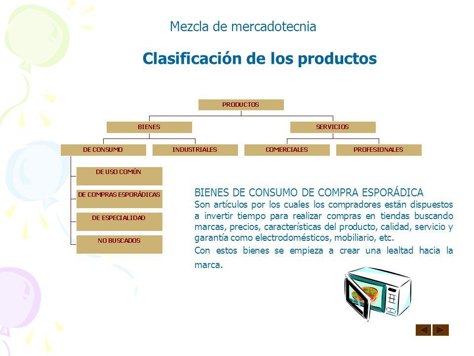 Clasificación de los productos Mezcla de mercadotecnia BIENES DE CONSUMO DE USO COMÚN Son artículos generalmente baratos y de compra frecuente que los