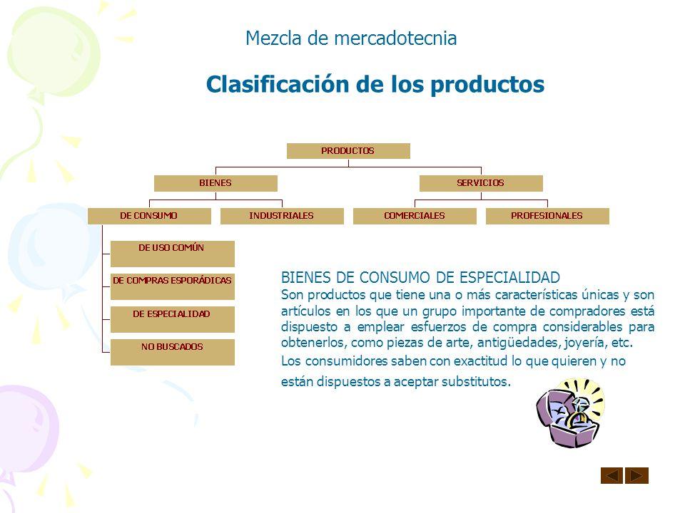 Clasificación de los productos Mezcla de mercadotecnia BIENES DE CONSUMO DE COMPRA ESPORÁDICA Son artículos por los cuales los compradores están dispu