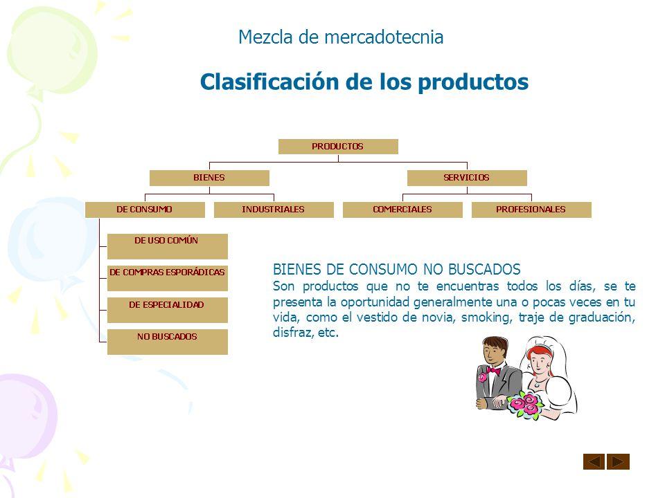 Clasificación de los productos Mezcla de mercadotecnia BIENES DE CONSUMO DE ESPECIALIDAD Son productos que tiene una o más características únicas y so