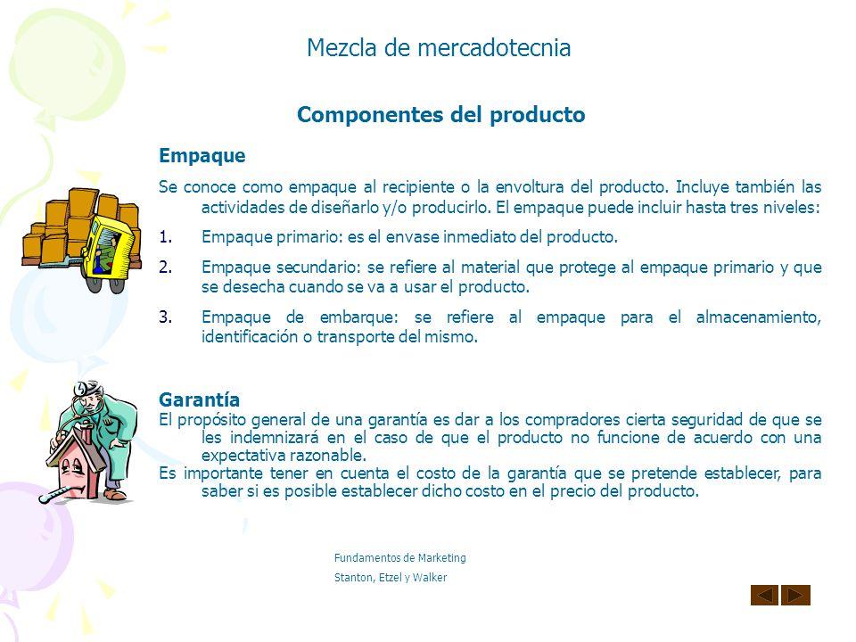 Componentes del producto Marca Es un nombre, un término, un símbolo y/o un diseño especial con el que se tratan de identificar los bienes o servicios