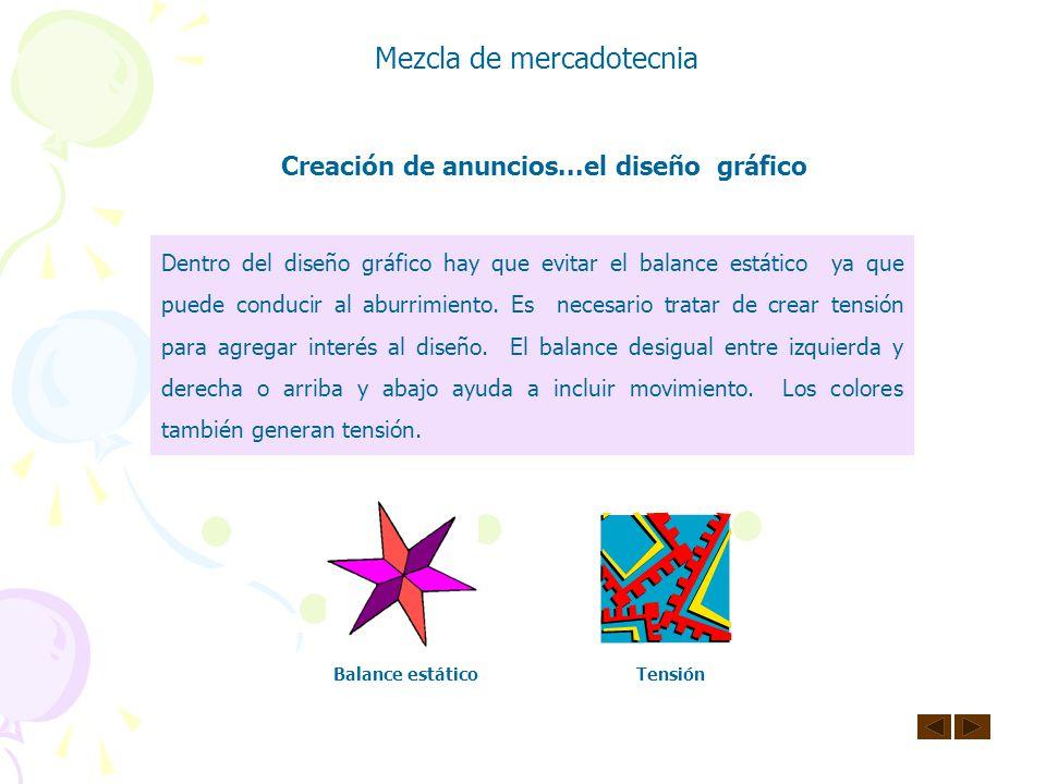 Mezcla de mercadotecnia Creación de anuncios...elementos de la comunicación gráfica Líneas diagonales dentadas: relámpagos, destrucción, rudeza. Curva